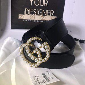 "Gucci Womens Black Pearl 1.5"" GG"